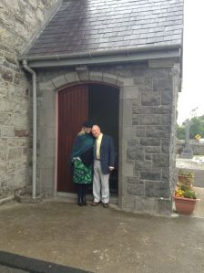 Jim Coleman and Sylvie Carter (nee Judge) at church door August 2013