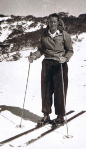Harry at Cooma on the snowfield where he spent 6 years surveying the mountains, after WWII
