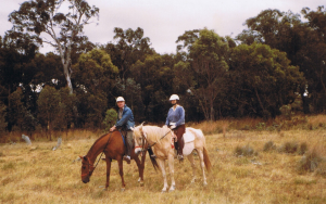 Harry and Cecily on horses at Gundaroo