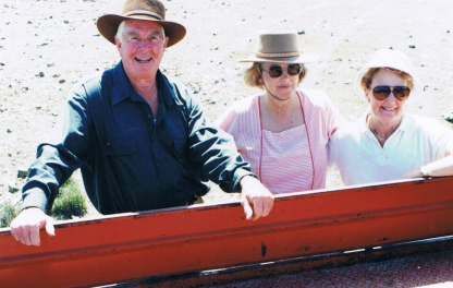 Harry, Cecily and Jean Zahra and the famous red truck.